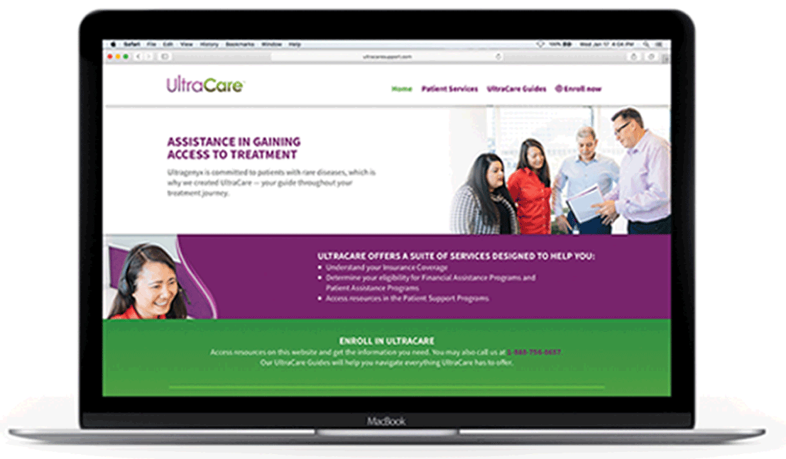 Ultracare.com homepage on a laptop